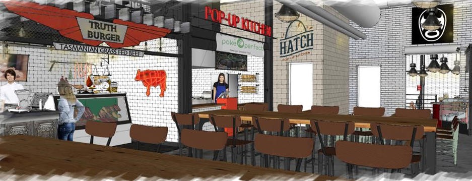 rendering of the interior of the Budd Dairy Food Hall