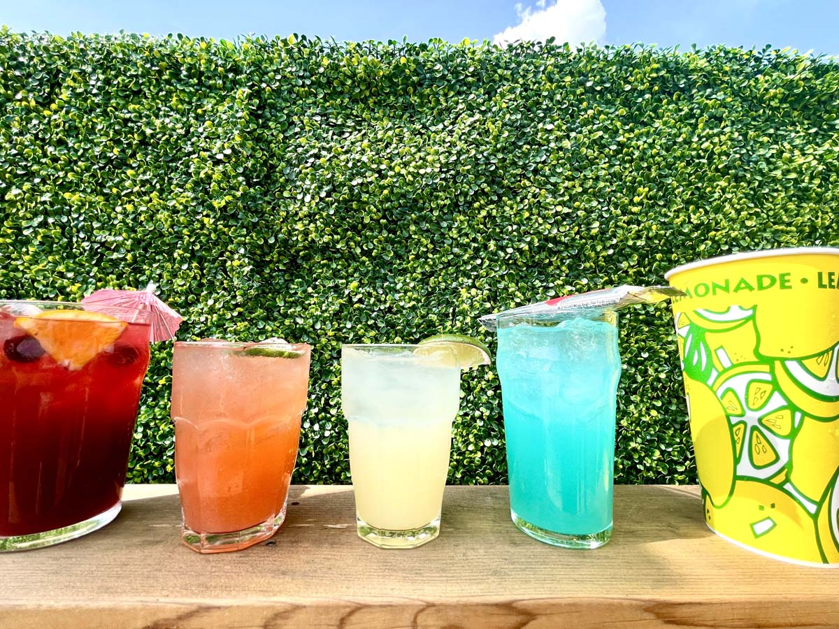 Five colorful cocktails lined up in front of hedge