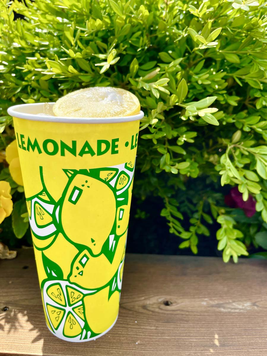 Yellow lemon shake-up cup in front of hedge