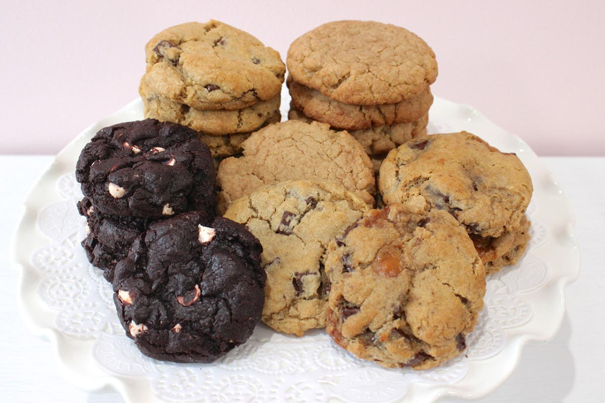 Stacks of a variety of cookies by Mrs. Turbo's Cookies.