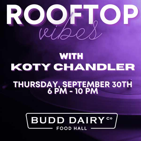 Rooftop Vibes Live music on Thursday, September 30th from 6 - 10 PM