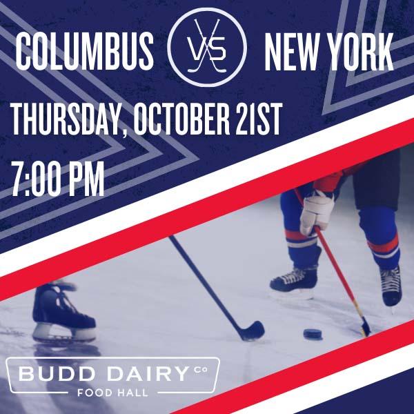 Columbus Blue Jackets vs. New York on Thursday, October 21st from 7 - 10 PM