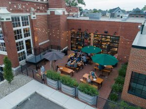 Aerial view of outdoor beer garden at Budd Dairy Food Hall