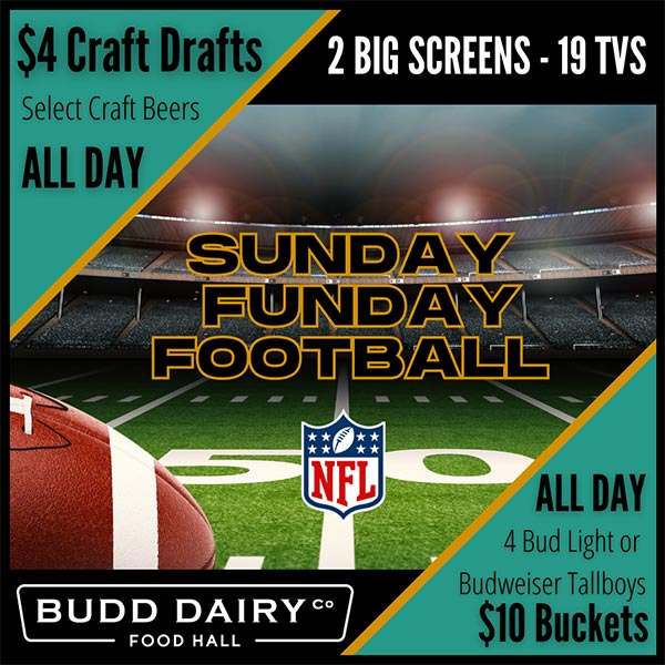 Sunday Funday Football - beer specials all day long with 2 big screens and 19 TVs